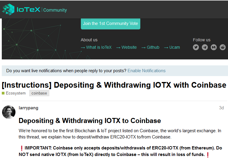 r/IoTeX - Warning: IoTex ioPAY App will not accept Coinbase Pro transfers. You may lose all your Crypto.